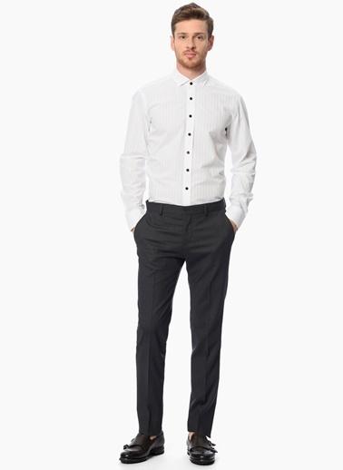 Network Slim Fit Uzun Kollu Çizgili Gömlek Beyaz
